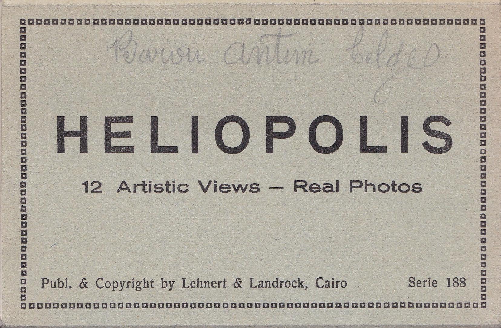 Postcards Heliopolis – 12 Artistic Views – Lehnert & Landrock – serie 188 – ca 1925
